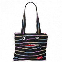 Сумка ZIPIT MONSTERS Tote / Beach Black & Rainbow Teeth (ZBZM-1)